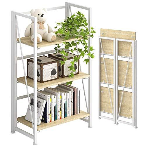 PRITI No-Assembly Folding-Bookshelf Storage Shelves 3 Tiers Vintage Bookcase Standing Racks Study Organizer Home Office…