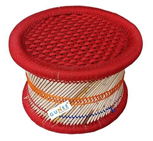 Pushkar Handicraft Cane Bar Stool for Indoor/Outdoor Furnishings (Red) - Set of 1