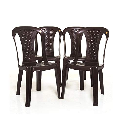 RW REST WELL Without arm/armless WOA Plastic Chair & Arjun Dining Table for Home, Dining & Garden (Set of 4 Chair & 1…