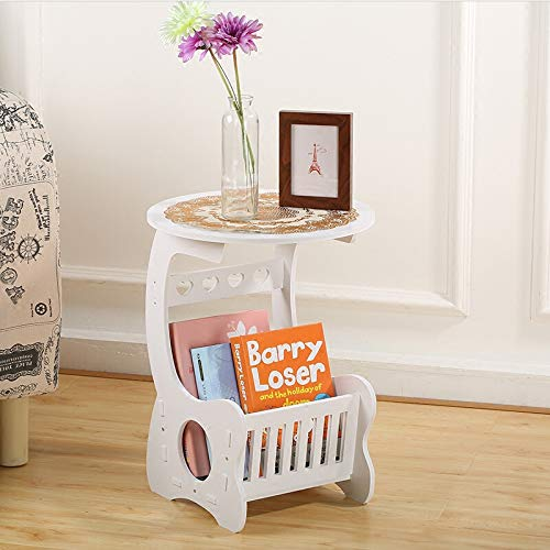 SS ARTS Engineered Wood Living Room Coffee Table with Magazine Storage Stand (35 cm x 24 cm x 60 cm, White)