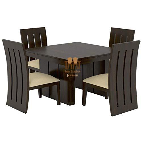 Shree Jeen Mata Enterprises Teak Sheesham Wooden Dining Table Set with 4 Chairs (Standard Size, Cream)