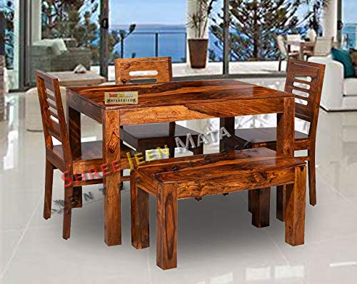Shree Jeen Mata Enterprises Wooden Solid Sheesham Wood Dining Table 4 Seater   Dining Table Set with 3 Chairs & 1 Bench…