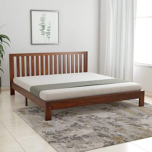 Solid Sheesham Wood King Bed (Teak Finish)