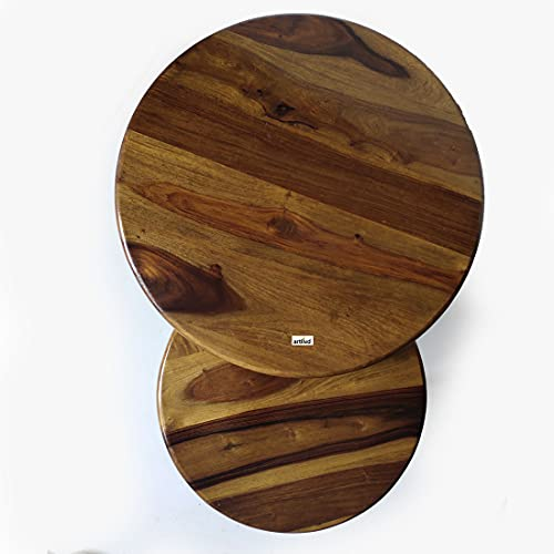 Solid Wood Designer Circular Nested Coffee Table - Set of 2| for Living Room|Balcony|Garden|Outdoor|Bedroom
