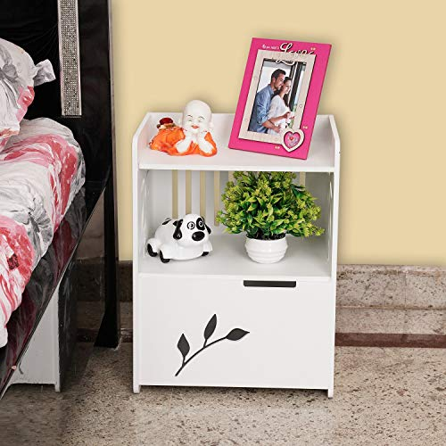 Ss Arts Engineered Wood Decorative Bed Side/Lamp Table with Door (White)