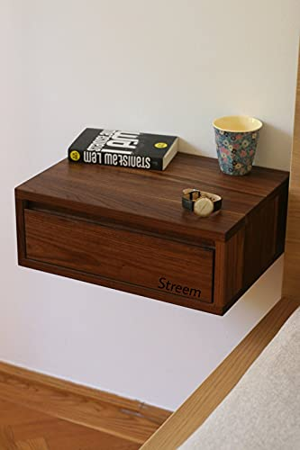 Streem Solid Wood Floating nightstand with Drawer and Shelf, mid Century Bedside Table, mid Century Modern End Table…