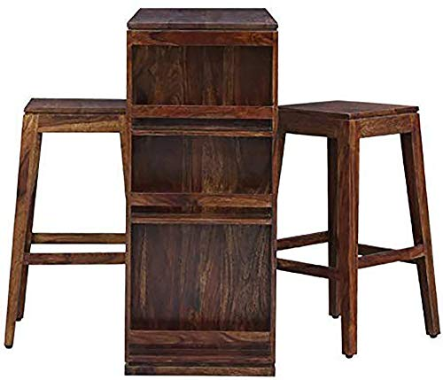 TG Furniture Solid Wood Bar Cabinet Set with Table and 2 Stools (Sheesham Wood, Brown, Natural Finish)