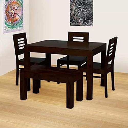 Timbark Sheesham Wood 4 Seater Dining Table Set with 3 Chair & 1 Bench for Living Room 5 Piece Wooden Dining Room Sets…