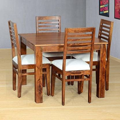 Timbark Sheesham Wood 4 Seater Dining Table Set with 4 Chair for Dining Room (Teak Finish) Solid Wood 4 Seater Dining…