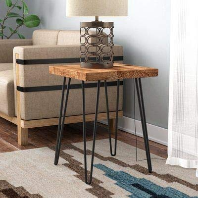 Wood Carver Bedside Table/Coffee Table/End Table/Sofa Table with 4 Foldable Legs for Living Room & Bedroom Natural…
