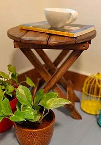 iCare Gifts Beautiful Premium Wooden Folding Side Table/Coffee Table 12INCH